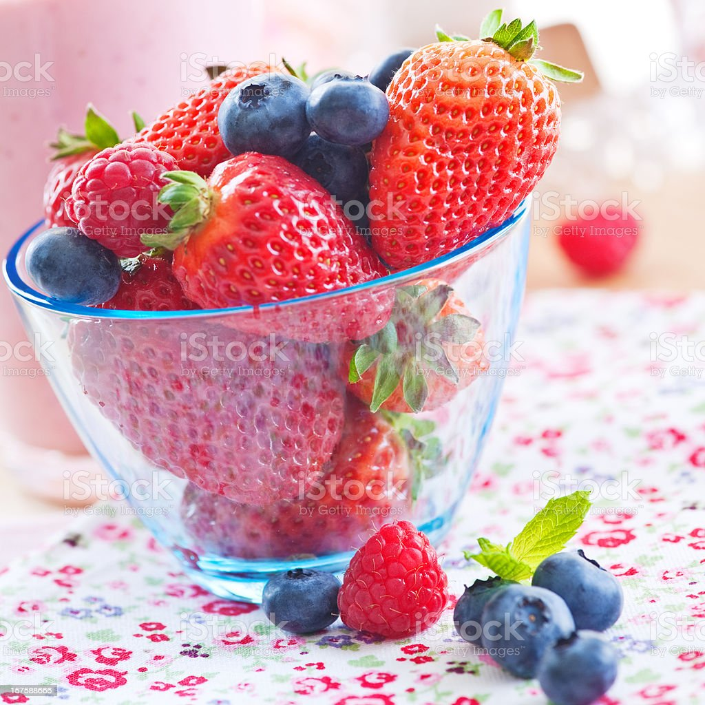Bowl with fresh berries royalty-free stock photo