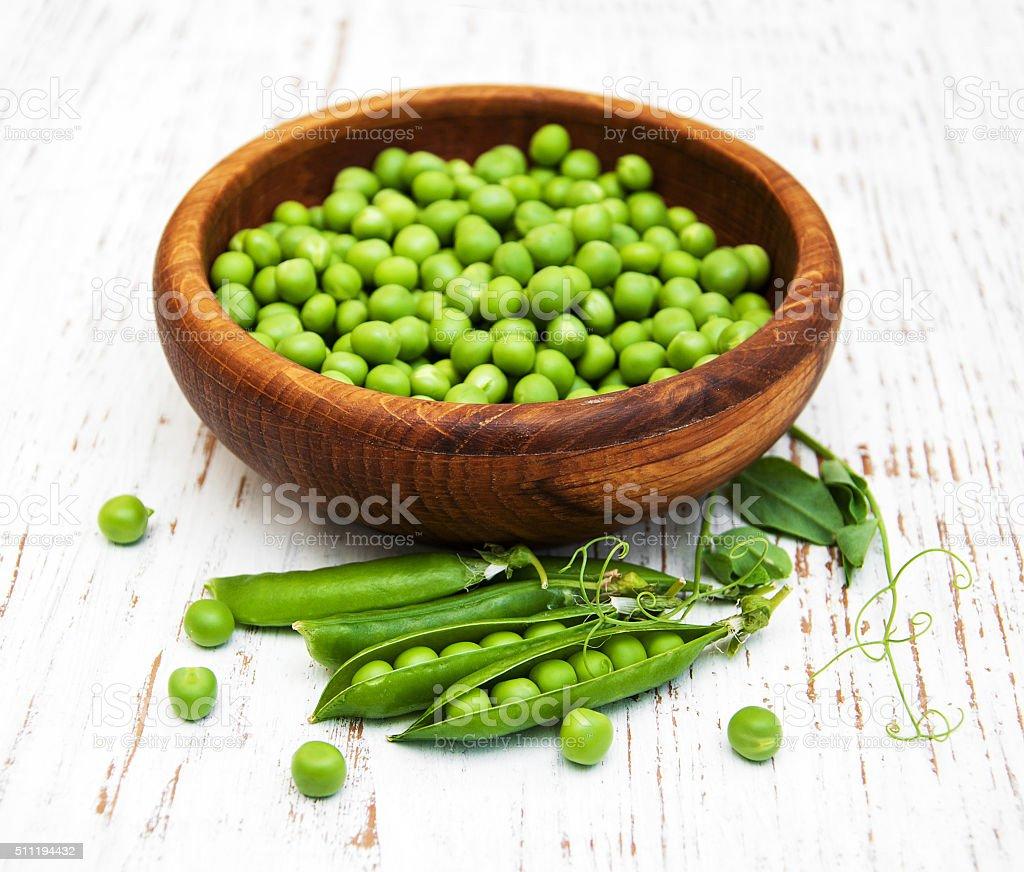 Bowl with fresh peas stock photo
