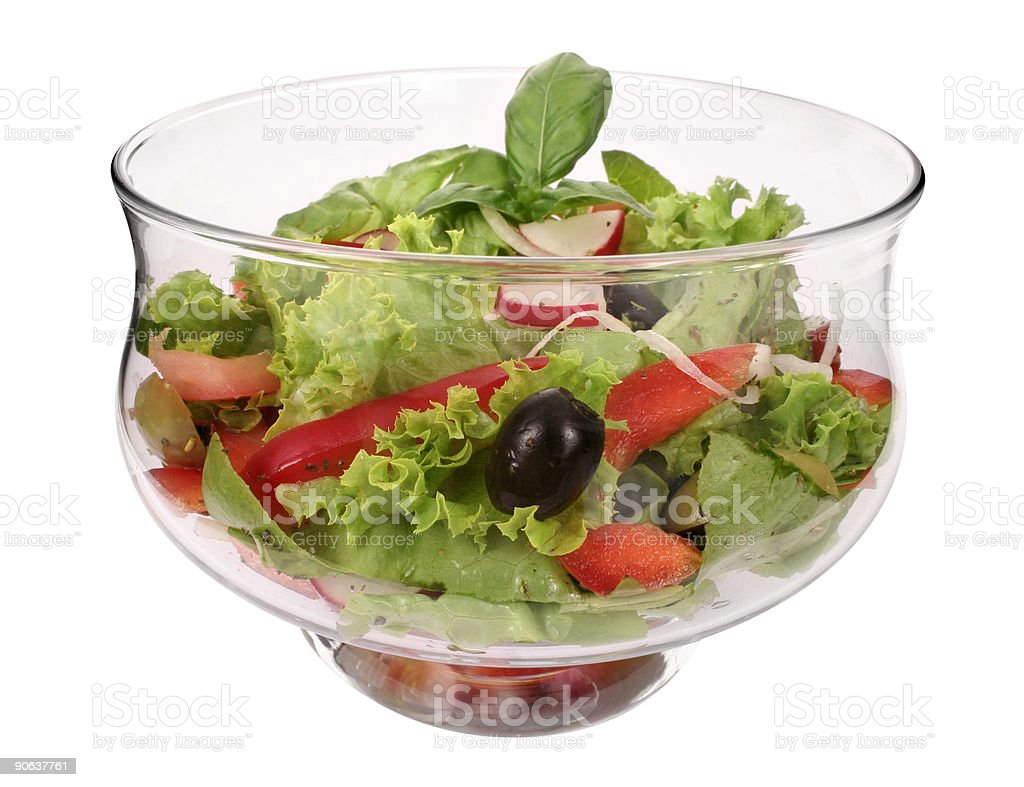 Bowl with fresh salad and tomato stock photo