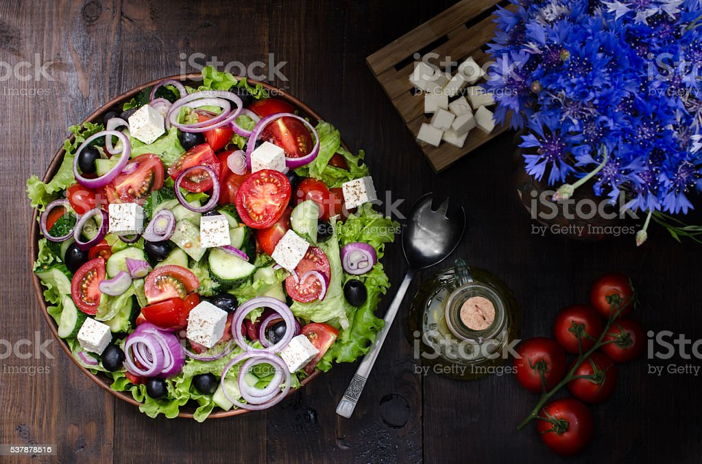 Bowl with Greek salad, still life stock photo
