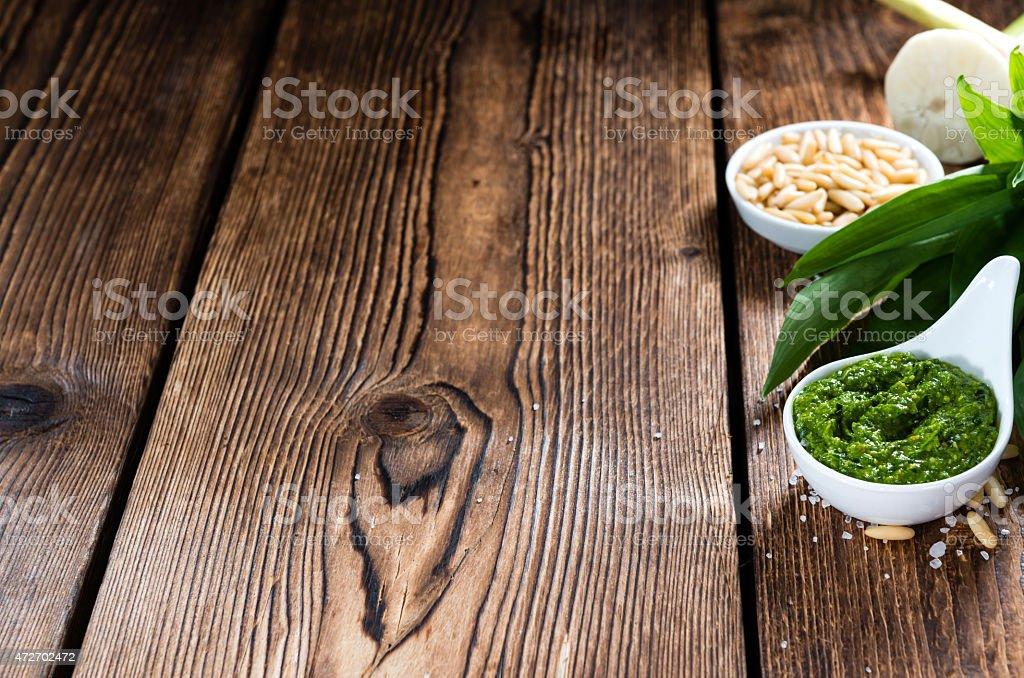 Bowl with homemade Ramson Pesto stock photo