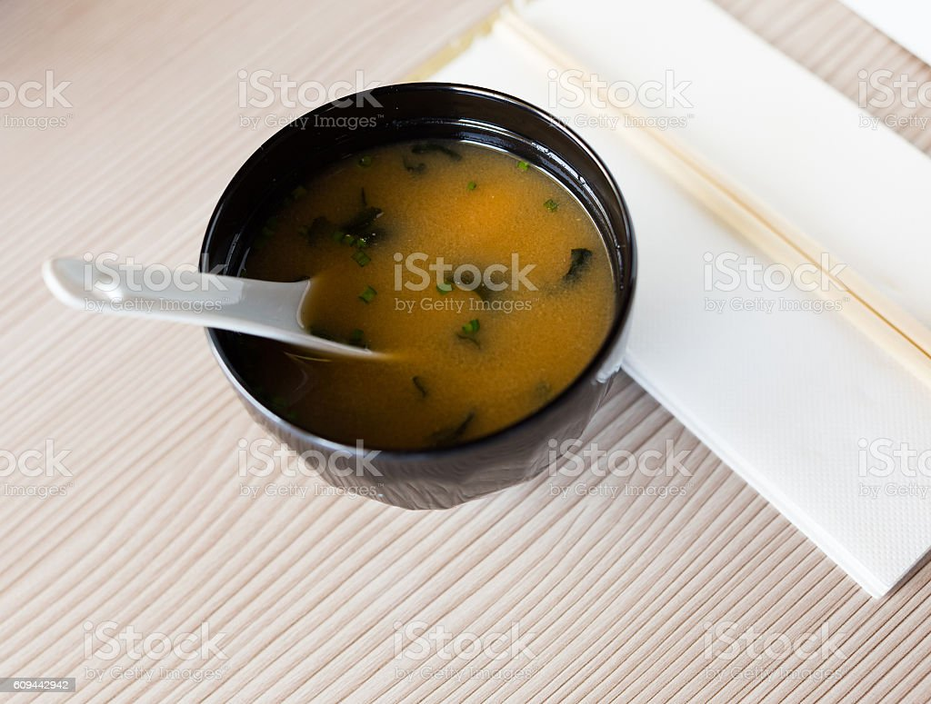 bowl with japanise misoshiru stock photo