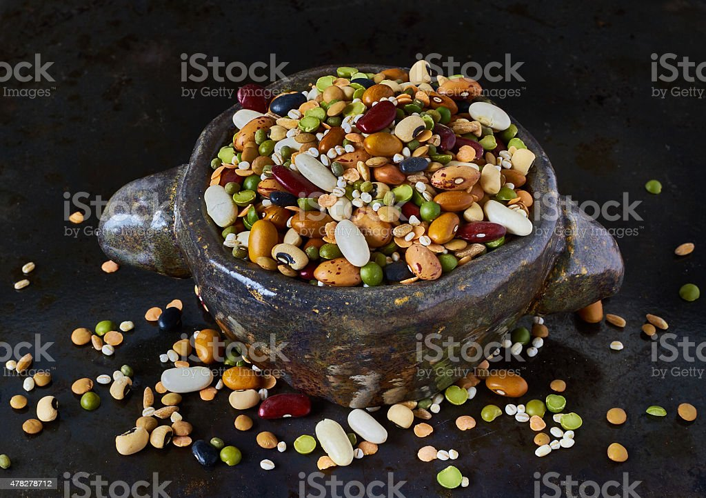 Bowl with legumes stock photo