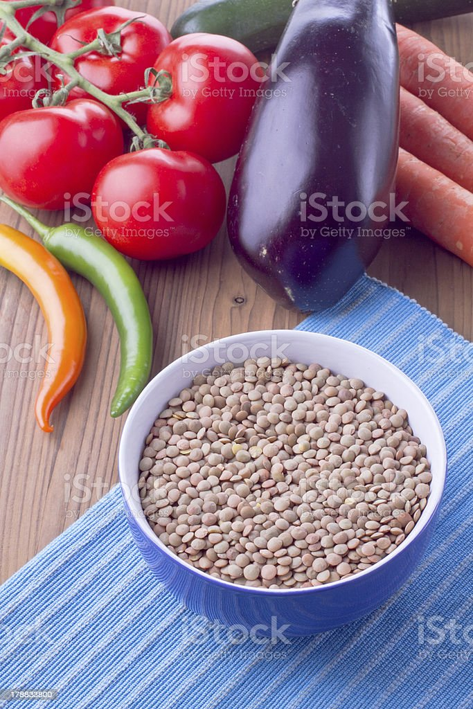 Bowl with lentil and vegetables royalty-free stock photo