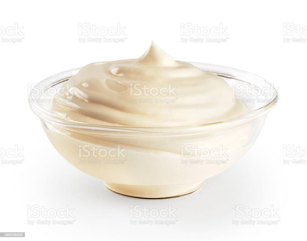 Bowl with mayonnaise isolated on white background. stock photo