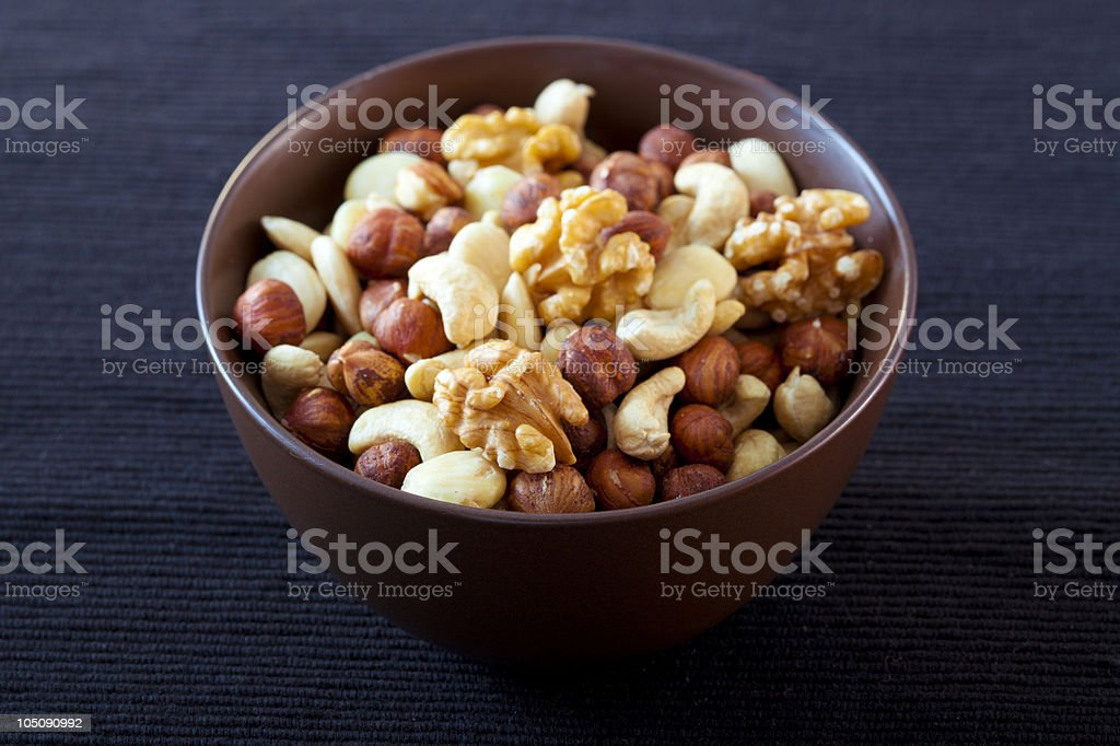 bowl with nuts stock photo
