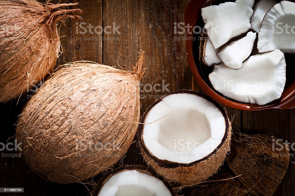 Bowl with organic coconut and fresh coconut stock photo