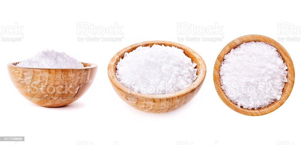 bowl with salt stock photo