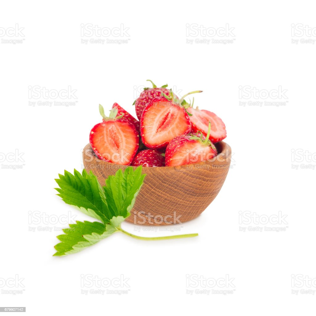 bowl with strawberries isolated on white background. stock photo