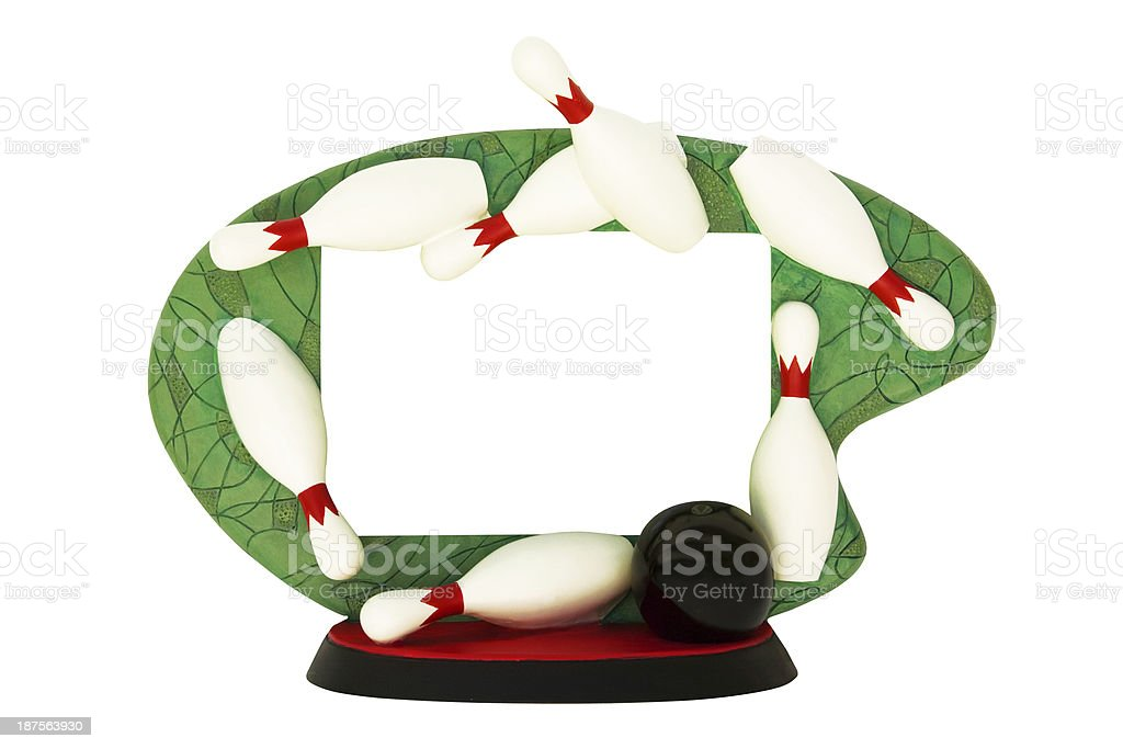 Bowling award, trophy picture frame royalty-free stock photo