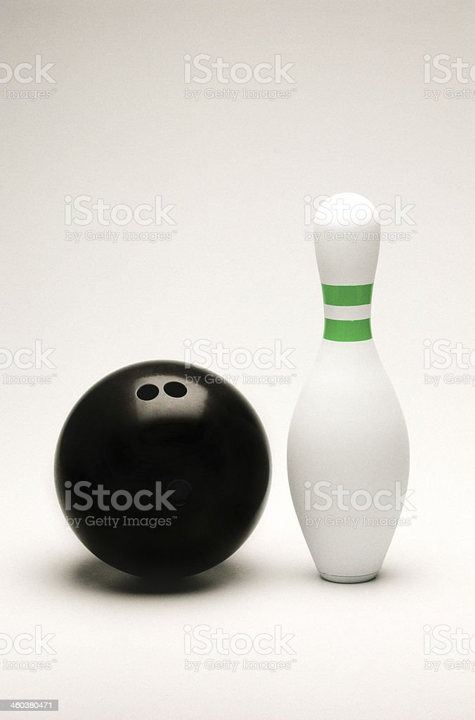 Bowling ball and pin isolated on white stock photo