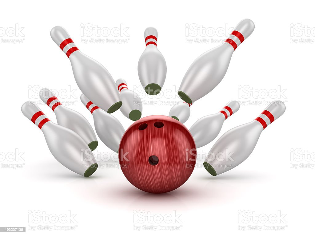 Bowling Ball Crashing Into the Pins stock photo