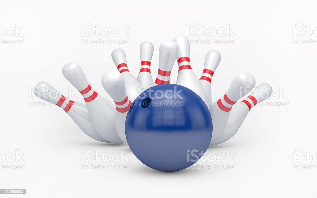 Bowling ball hits skittles stock photo