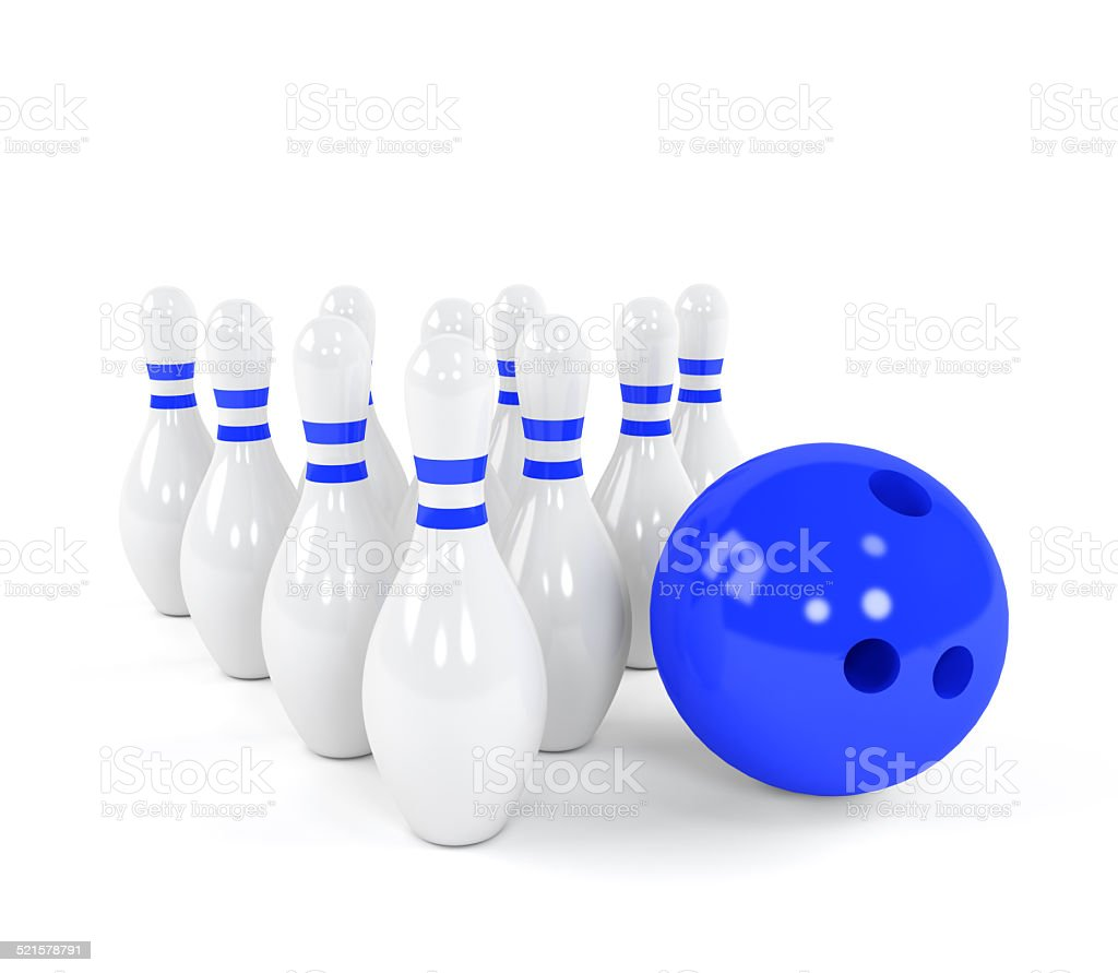 Bowling ball with the white skittles stock photo