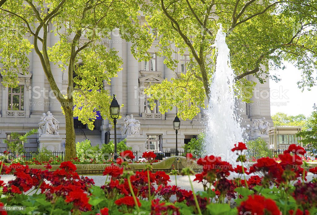Bowling Green fountain at Lower Manhattan in New York City royalty-free stock photo