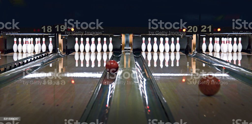 Bowling lines stock photo