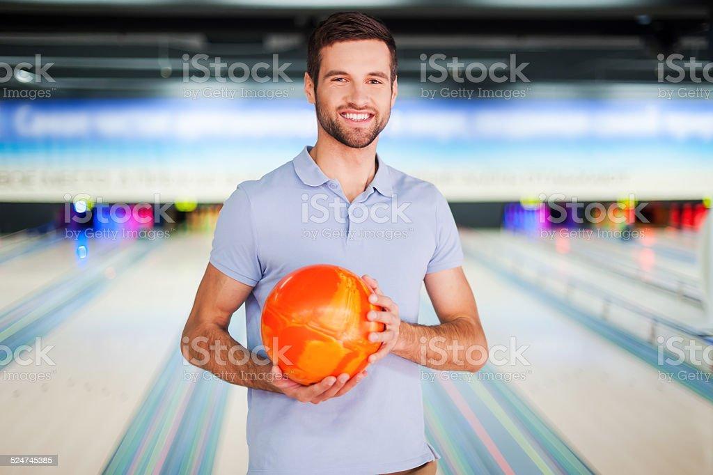 Bowling master. stock photo