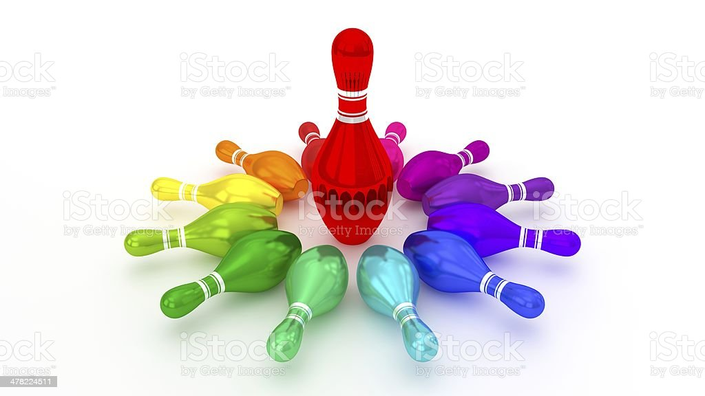 Bowling Pin Rotating at the Center on White Background stock photo