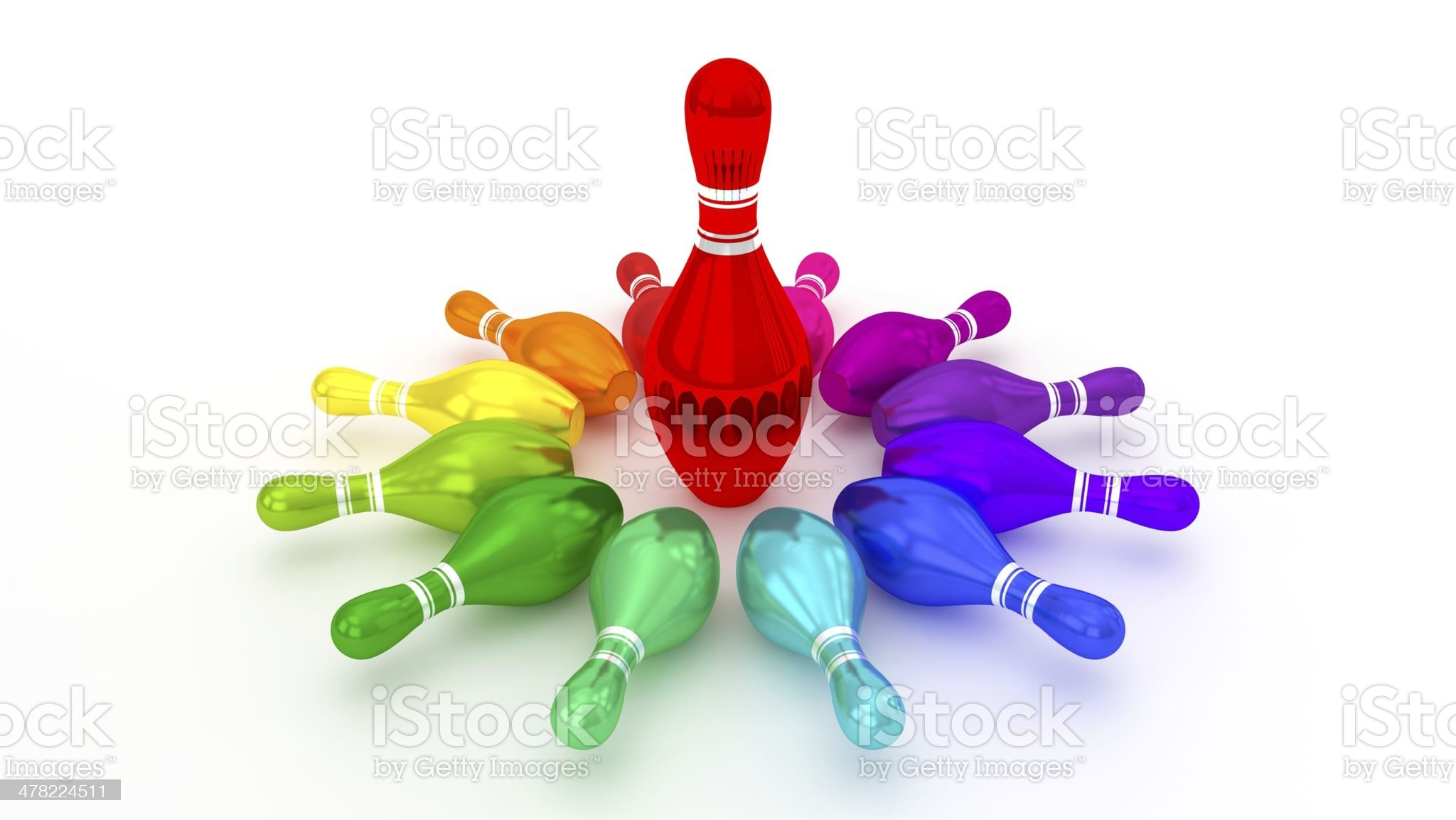 Bowling Pin Rotating at the Center on White Background royalty-free stock photo