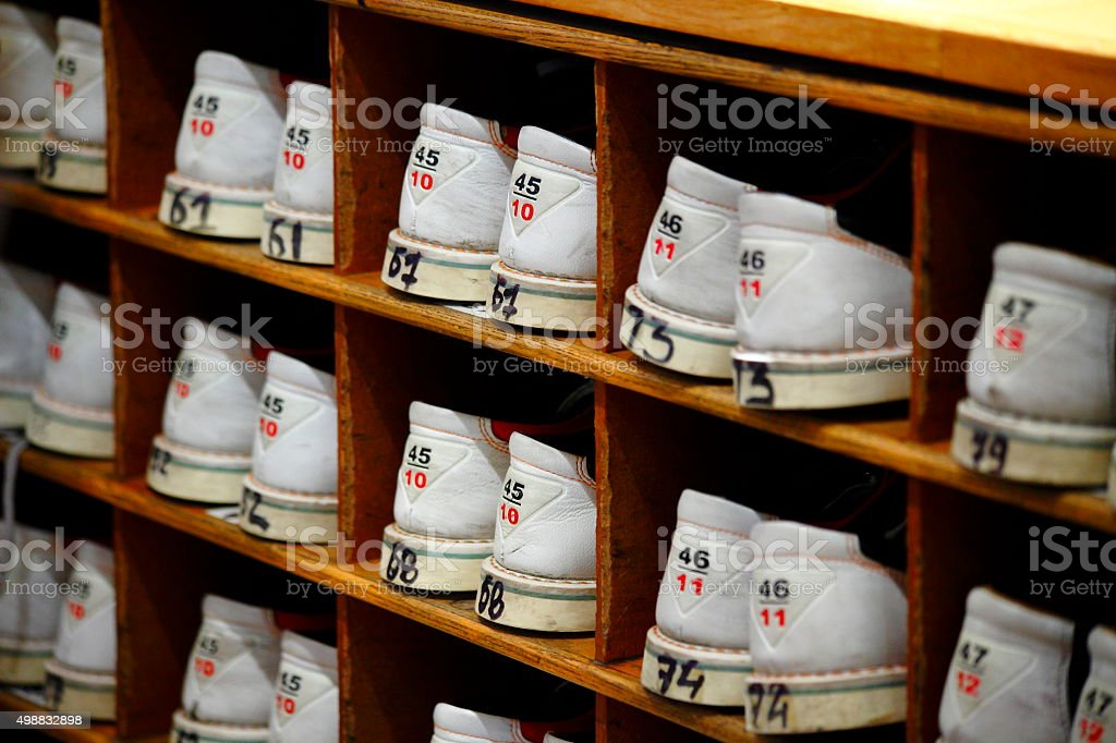 bowling shoes at an evening corporate team building event stock photo