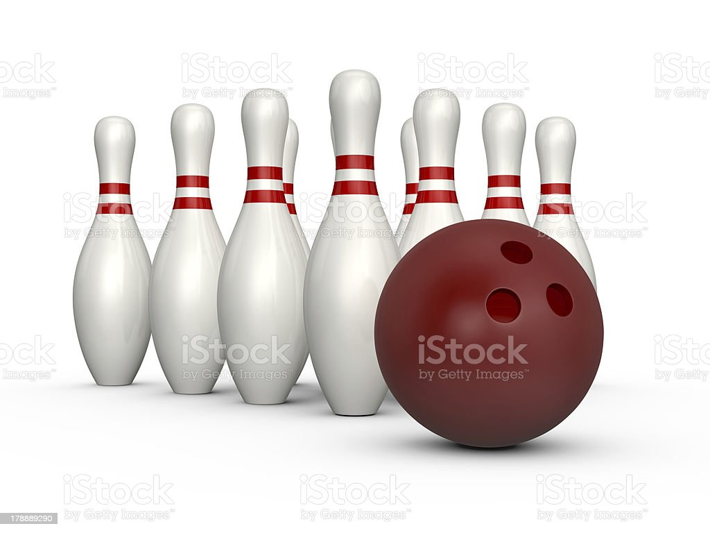 Bowling Skittles and Ball royalty-free stock photo