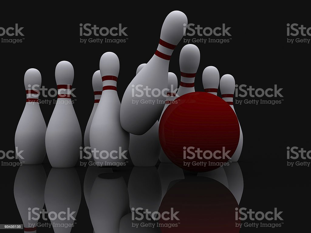 Bowling skittles stock photo