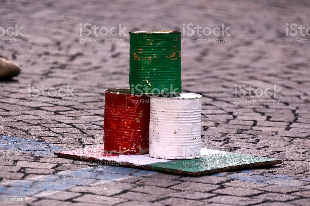 Bowling with Tin Cans - Italian Flag stock photo