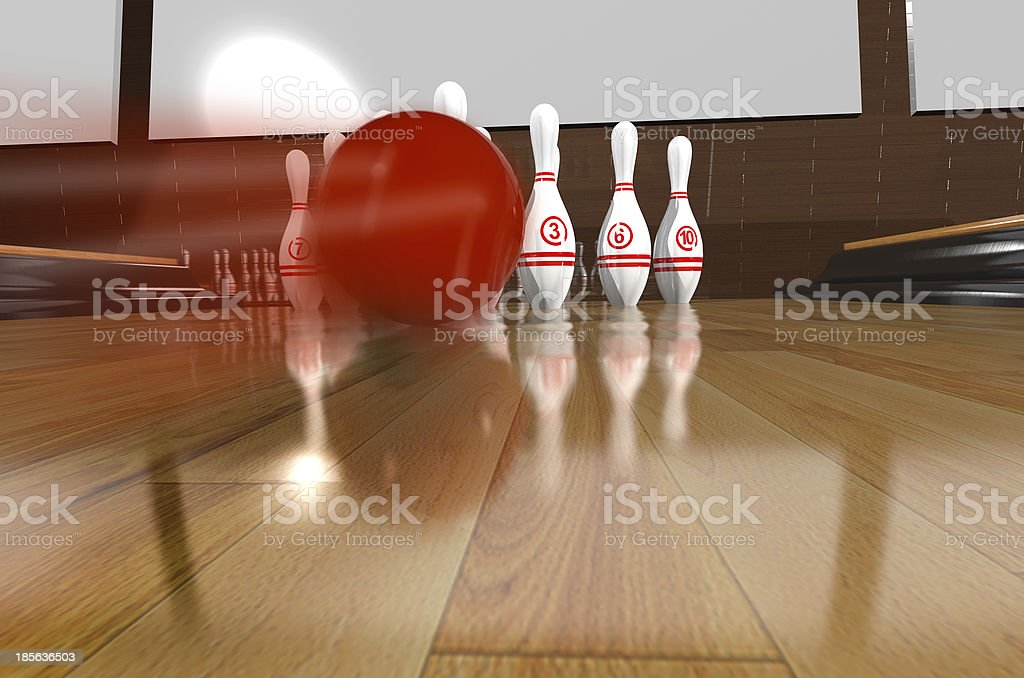 Bowling.3d rendr royalty-free stock photo
