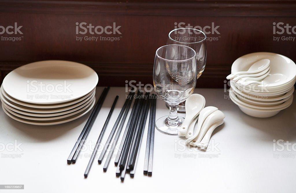 Bowls and chopsticks royalty-free stock photo