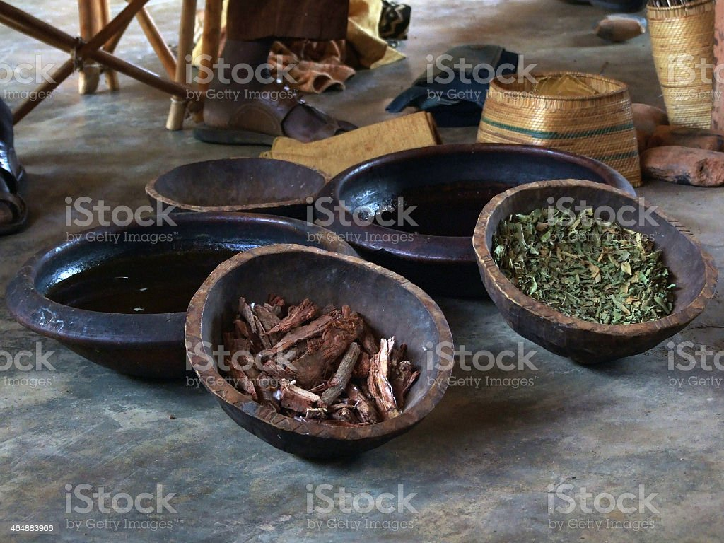 Bowls and spices stock photo