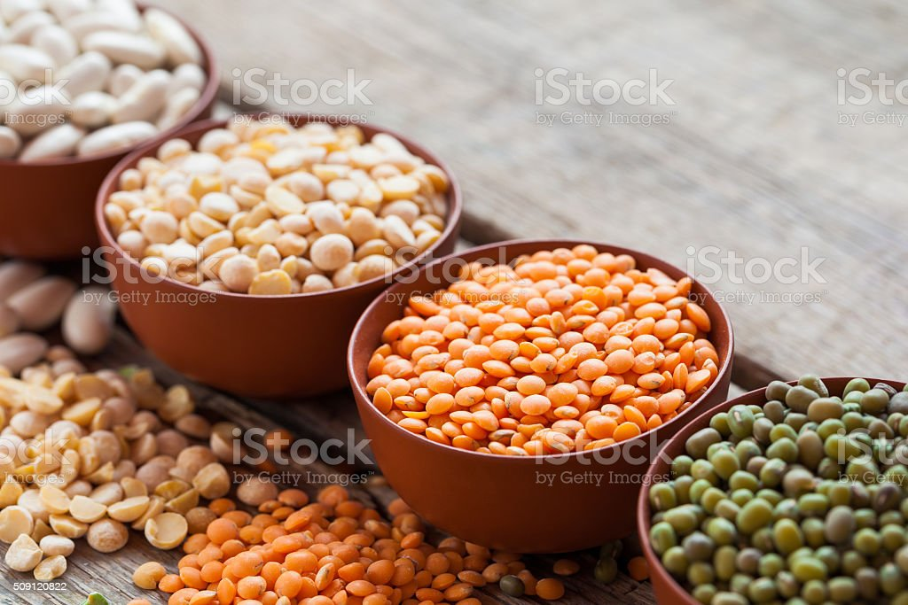 Bowls of cereal grain stock photo