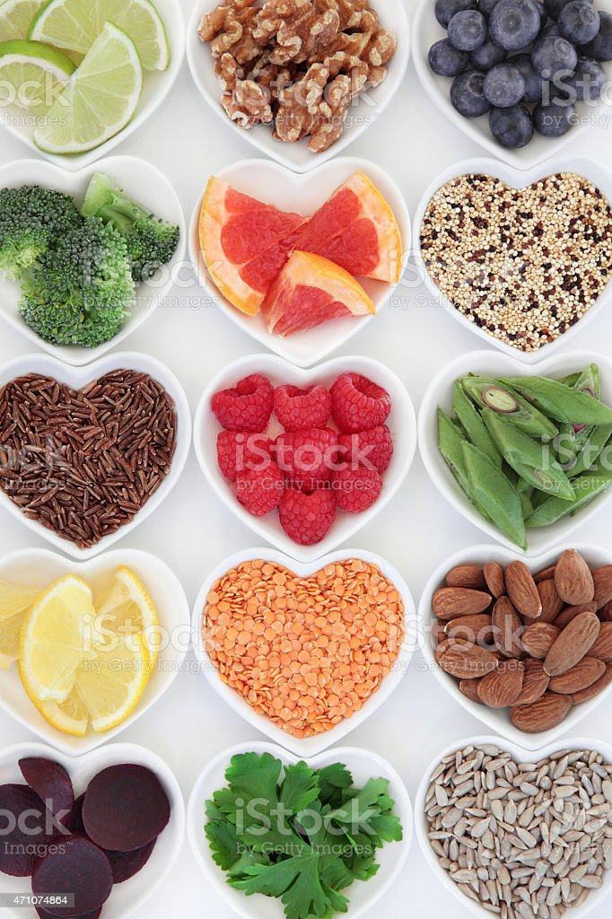 Bowls of healthy and nutritious foods stock photo