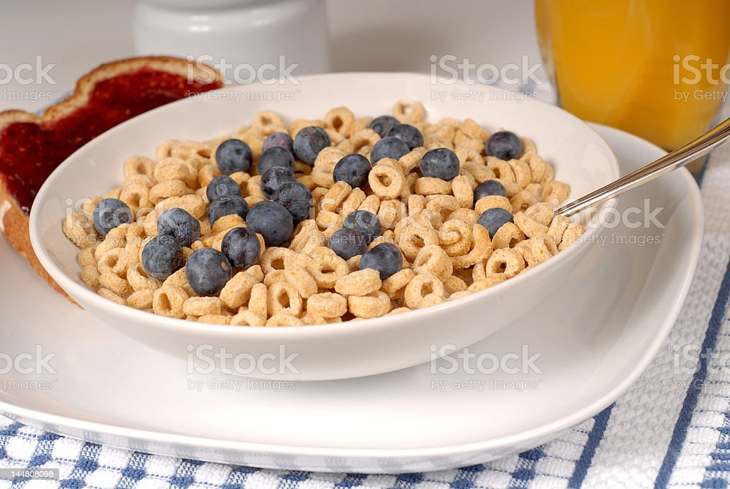 Bowls of oat cereal with blueberries and toast royalty-free stock photo