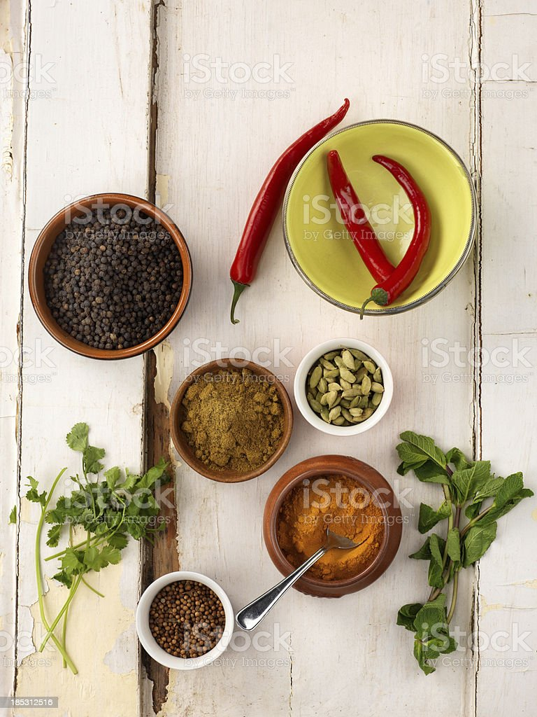 Bowls of spices from above royalty-free stock photo