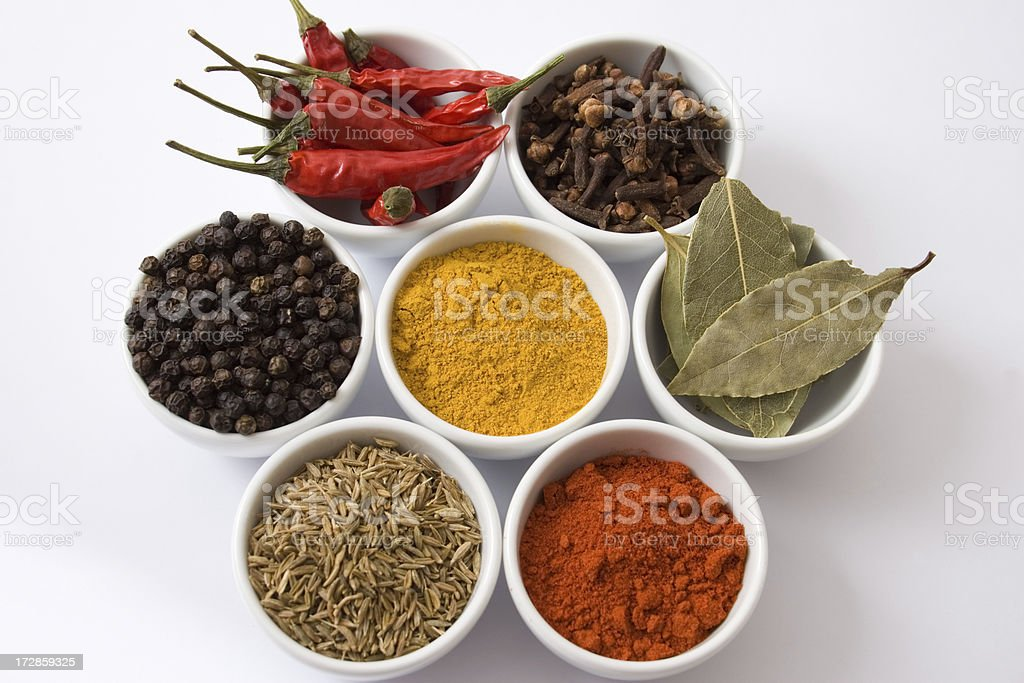 Bowls of spices royalty-free stock photo