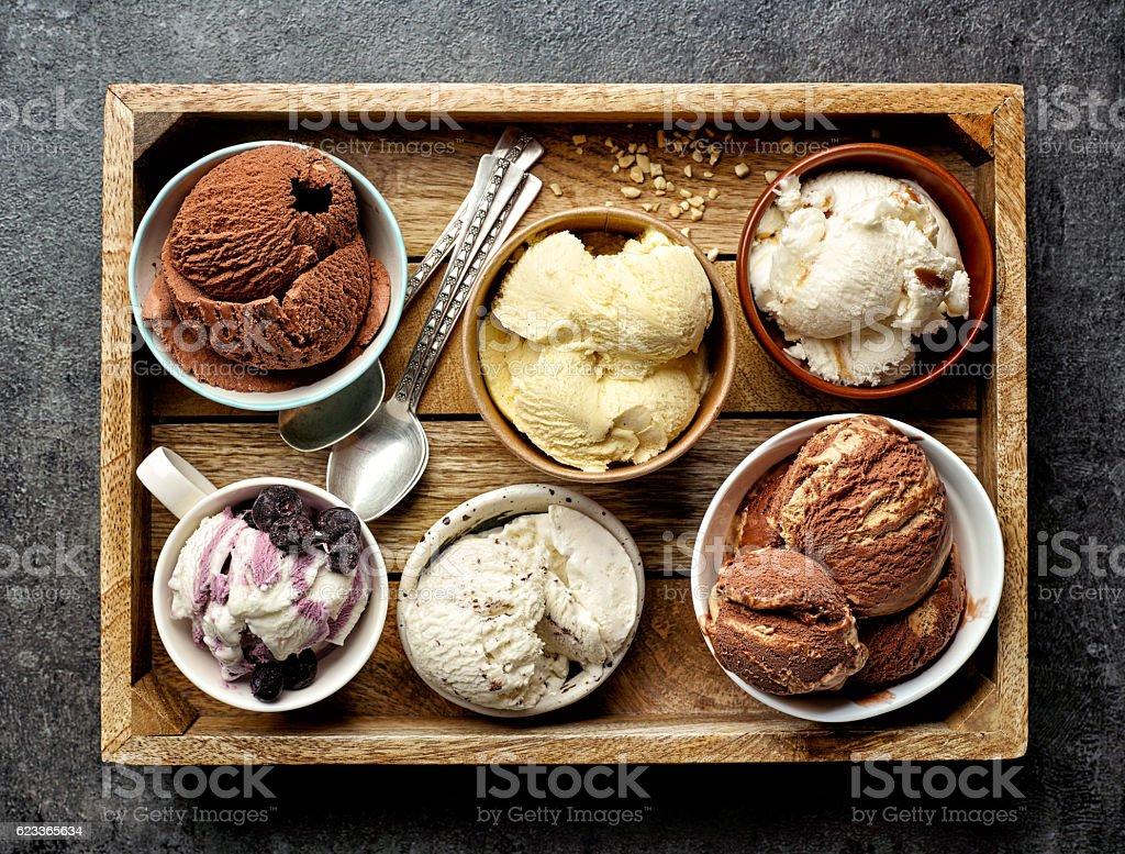bowls of various ice creams stock photo