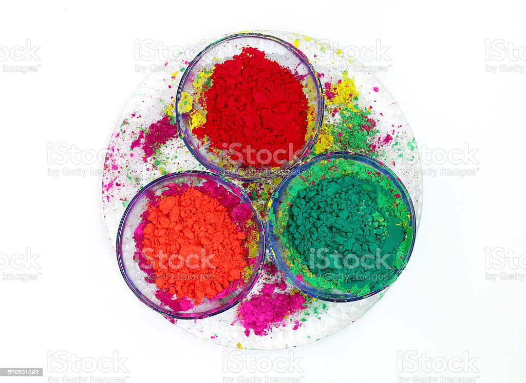Bowls with vivid colours of Gulal stock photo