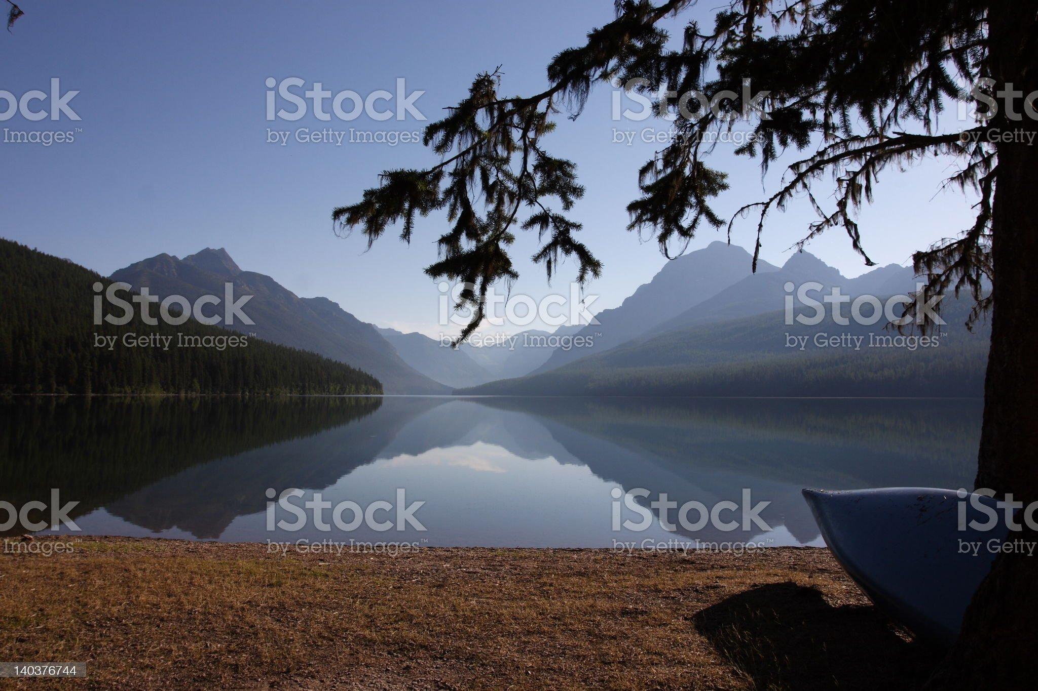 Bowman Lake at Dawn royalty-free stock photo