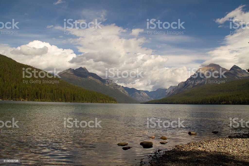 Bowman lake Glacier National Park Montana stock photo