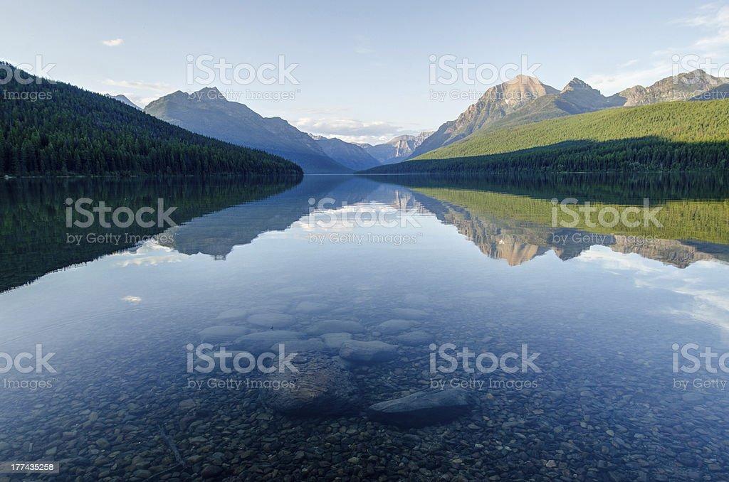Bowman Lake, Glacier National Park stock photo