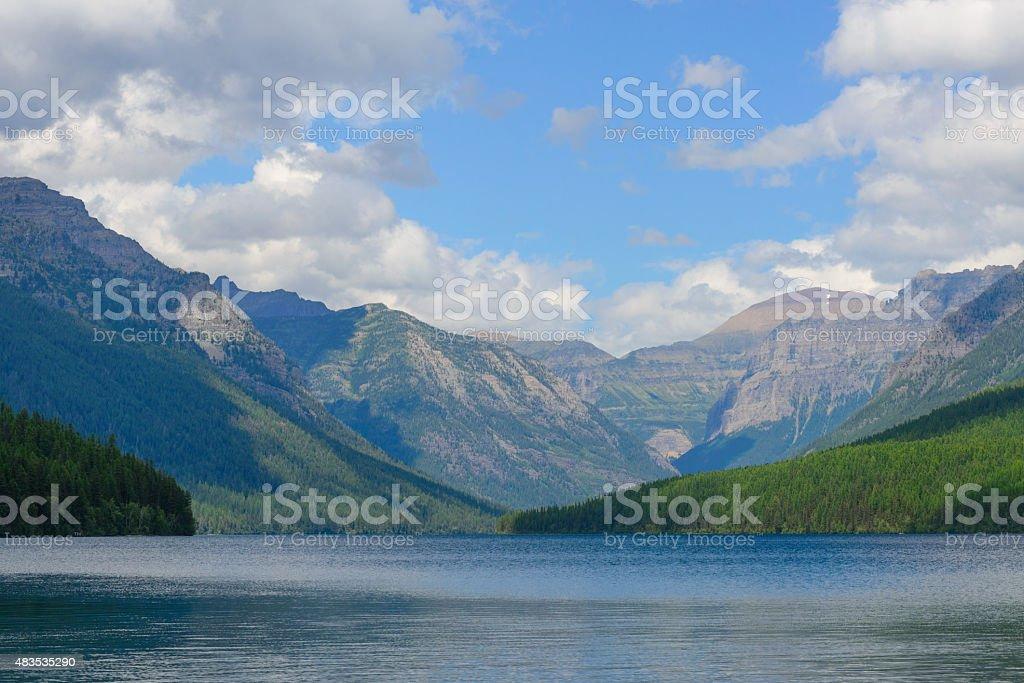 bowman lake in summer stock photo