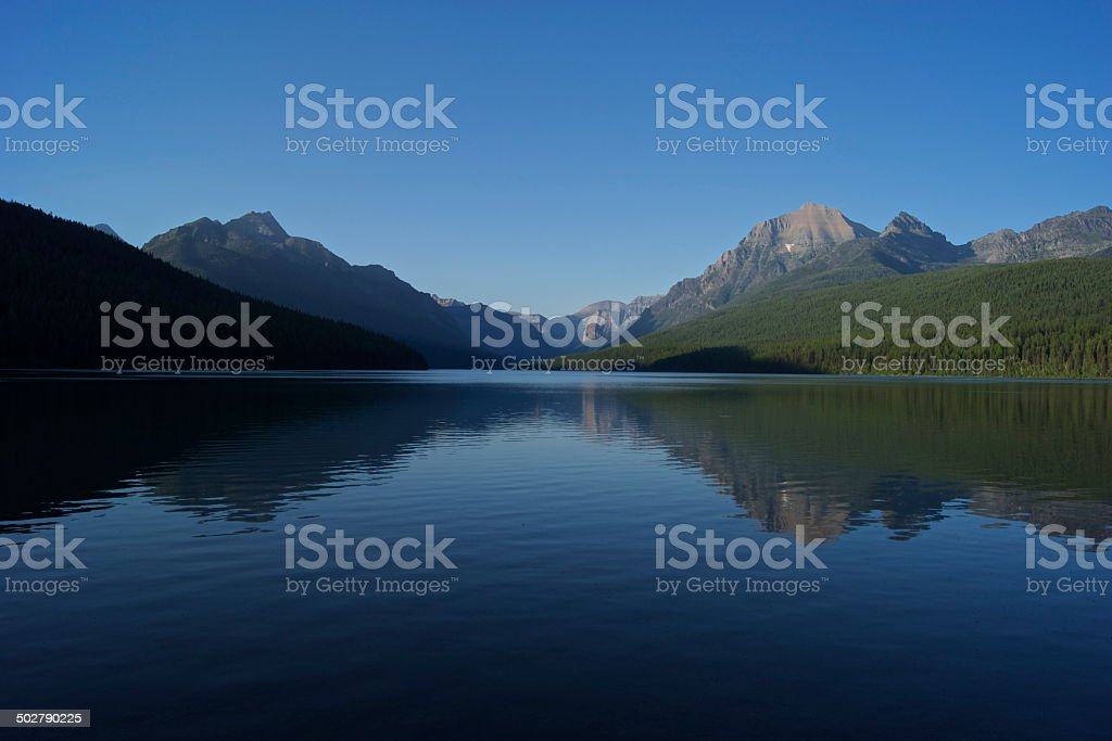 Bowman Lake Sunset stock photo