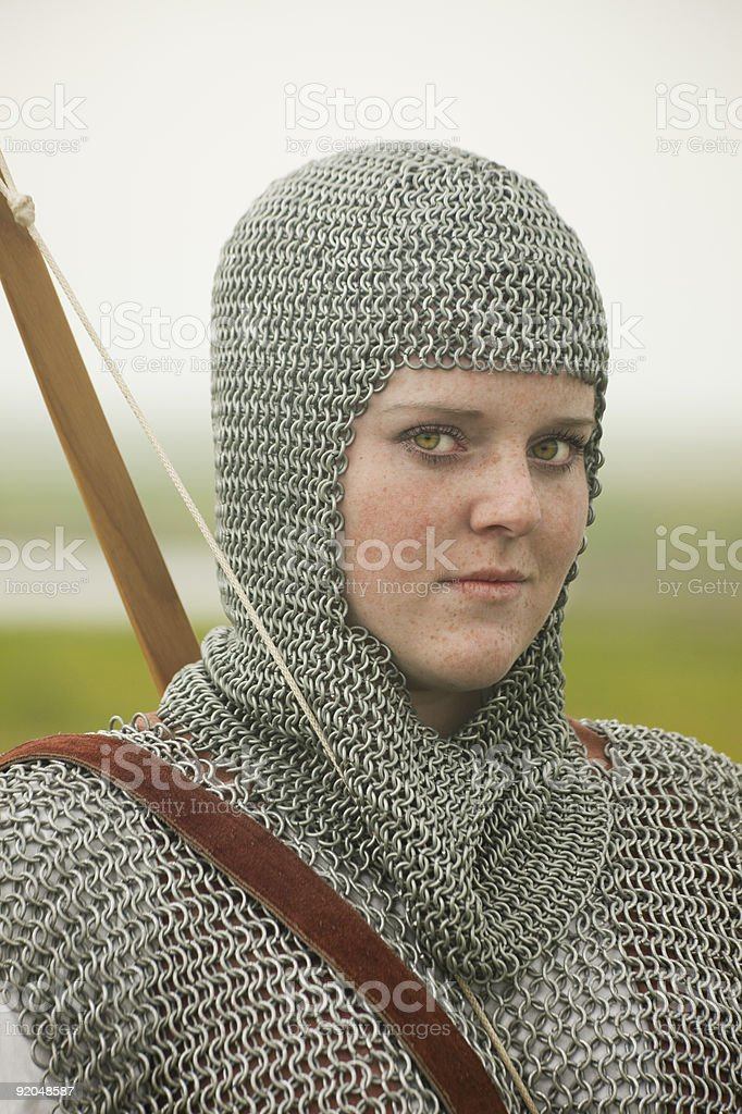 bows woman / medieval armor  historical story royalty-free stock photo