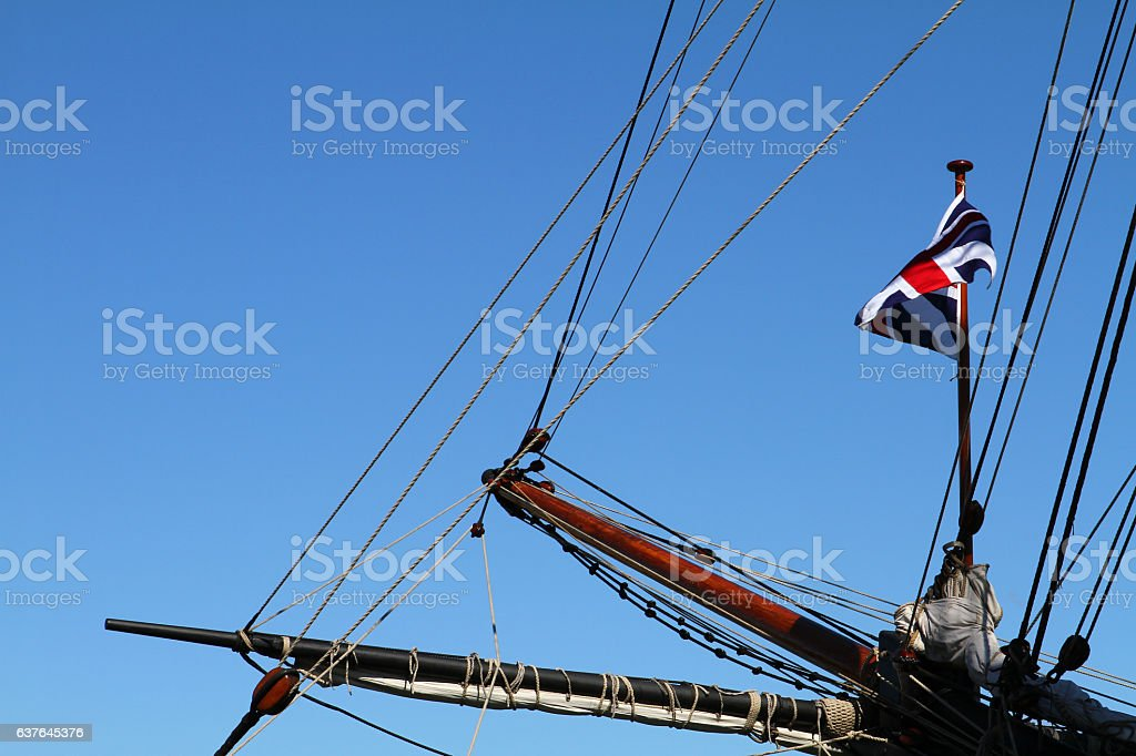 Bowsprit and rigging of a sailing ship stock photo