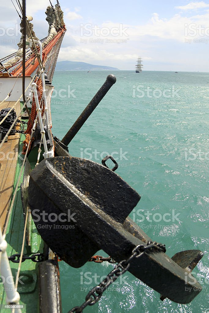 bowsprit of a sailing ship with anchor stock photo