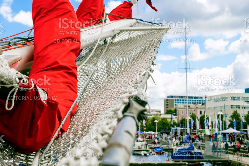 Rostock, Germany - August 2016: Bowsprit, of the sailing ship. stock photo