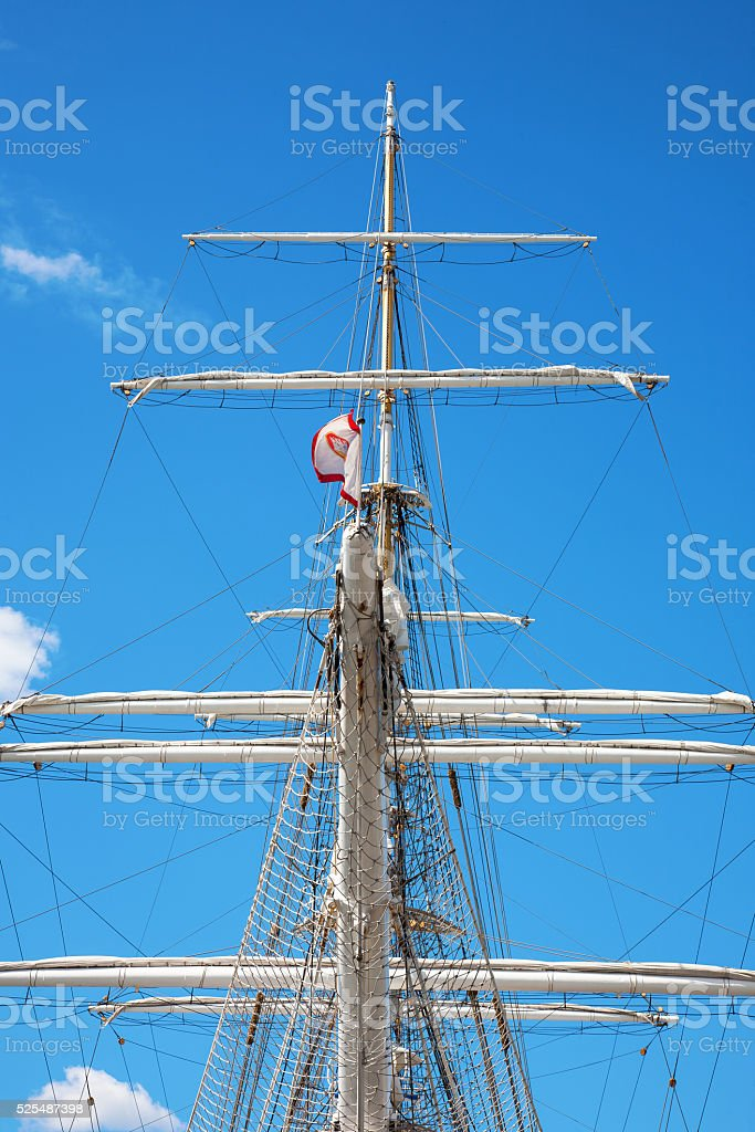 Bowsprit on an old sailing ship stock photo