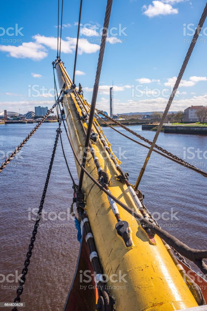Bowsprit ropes rigging masts and stays on traditional sailing ship stock photo