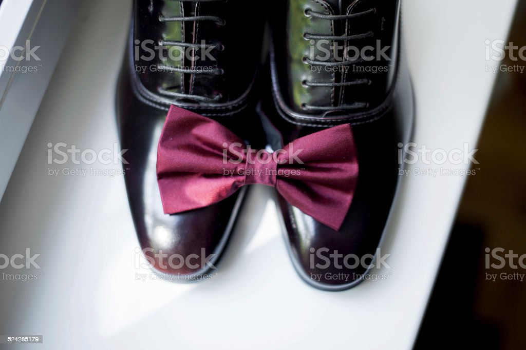 bow-tie and shoes for men royalty-free stock photo