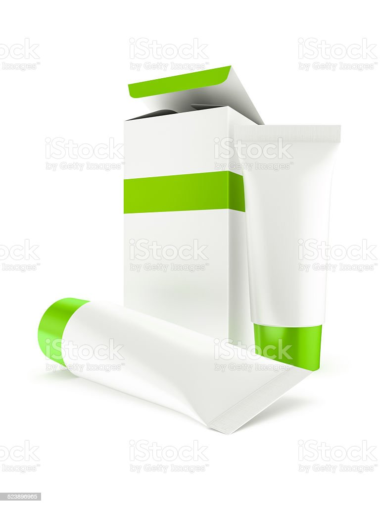 box and two tubes with cosmetics stock photo